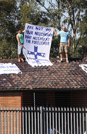 Asylum seekers on the roof of Villawood Immigr...