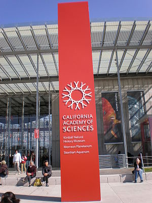 A sign in front of the California Academy of S...