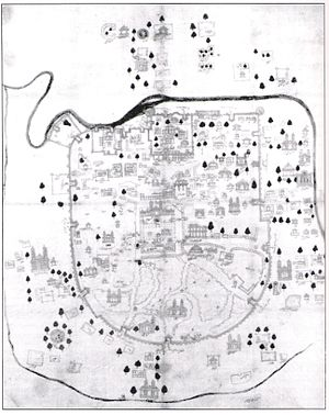 Map of Ahmedabad, depicted in a miniature styl...