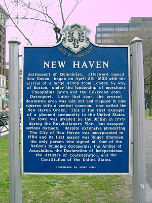 A sign on New Haven Green that details the cit...