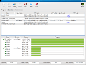 Screenshot of Ophcrack version 3.2.0