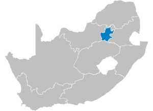 Map of South Africa showing the Gauteng provin...