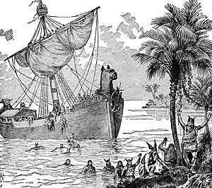 An illustration of Vikings on a boat.