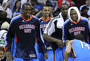 English: left to right: Serge Ibaka, Thabo Sef...