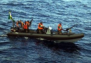 English: A AMISOM RHIB off the coast of Somalia.