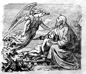 The angel prevents the sacrifice of Isaac, det...