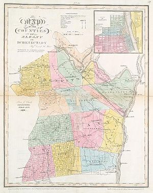 English: Map of Albany and Schenectady countie...