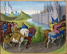 Crusaders riding horses prepare to enter Constantinople, nearby, while another crusader army in the distance also approaches Constantinople.