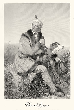 Engraving of Daniel Boone, with autograph at b...