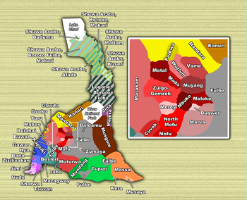 Locations of the various ethnic groups of the ...