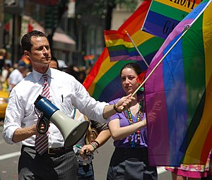 Anthony Weiner at the LGBT Pride parade, New Y...