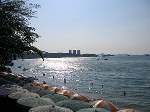 Pattaya Beach, Thailand. A view to the south t...