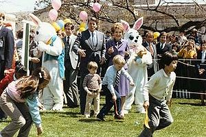 The Reagans at the 1982 White House Easter Egg...
