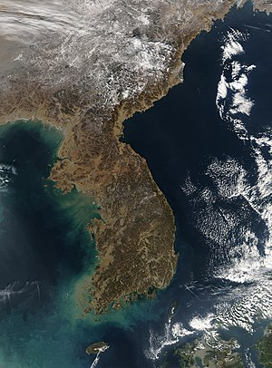 Satellite image of Korea.