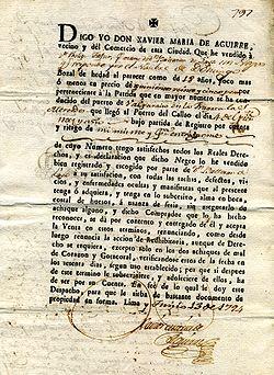 Contrato esclavista Lima / Perú 13.10.1794