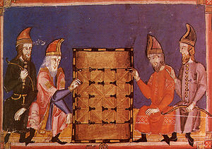 Men playing Alquerque, pictured in Libro de lo...
