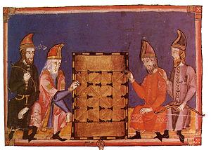 Men playing Alquerque, pictured in Libro de lo...