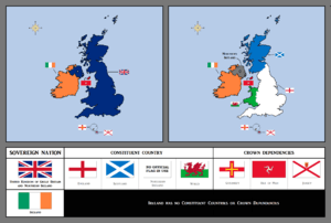 English: Flag map of the UK (+ constituent cou...