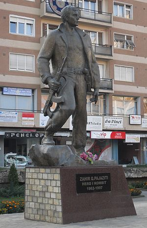 Monument of Zahir Pajaziti, cofounder of the K...