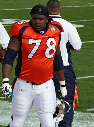 English: Ryan Clady, a player on the Denver Br...
