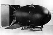 """Replica of the """"Fat Man"""" nuclear bomb dropped on Nagasaki, Japan, on August 9, 1945"""