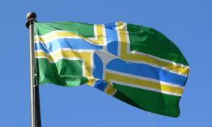 The flag of the city of Portland, Oregon flyin...