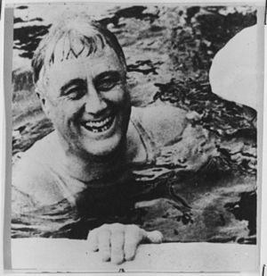 Franklin D. Roosevelt in Warm Springs, Georgia...