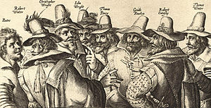 A monochrome engraving of eight men, in 17th-century dress.  All have beards, and appear to be engaged in discussion