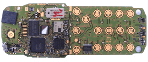A printed circuit board inside a mobile phone