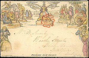 A hand-colored Mulready envelope