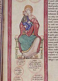 Miniatura della Madonna con Bambino, tratta dalla Bibbia Parc Abbey, XII secolo