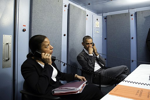 President Barack Obama and National Security Advisor Susan E. Rice talk on the phone with Homeland Security Advisor Lisa Monaco to receive an update on a terrorist attack in Brussels, Belgium