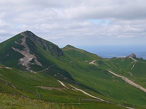 View of the reak of Puy de Sancy and cable car...
