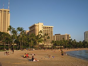 Waikiki Beach, Honolulu, Hawaii, USA.
