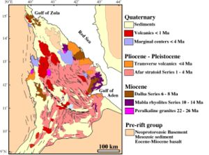 Simplified geologic map of the Afar Depression.