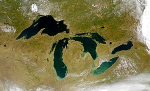 The Great Lakes as seen from space. The Great ...