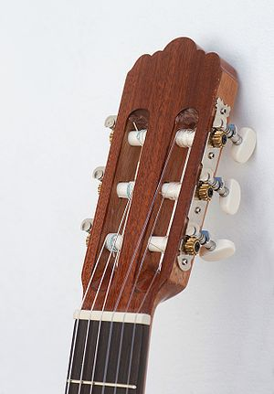 English: A classic guitar headstock, showing t...