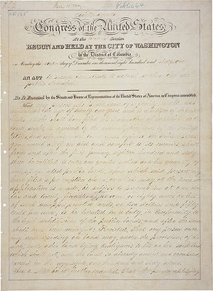 The first page of the Homestead Act.