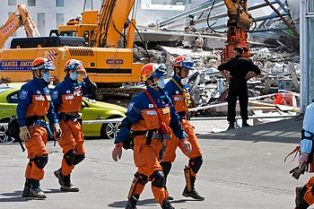 A Japanese urban search and rescue team at the...