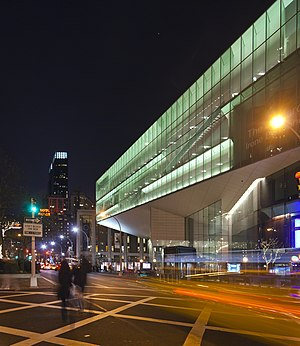 English: Alice Tully Hall at night, in its set...