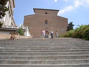 La scalinata e la facciata della chiesa dell'A...