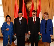 President Áder and First Lady Anita Herczegh with Indonesian President Susilo Bambang Yudhoyono and First Lady Kristiani Herawati in March 2013