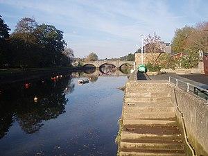 Shows the River Dart at Totnes in Devon lookin...
