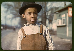 An African American boy outside of Cincinnati,...