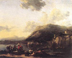 BERCHEM Nicolaes landscape With Jacob Rachel A...