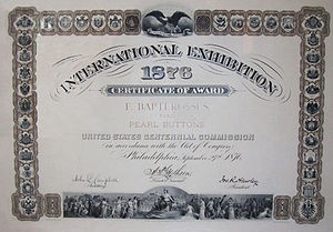 English: This is a certificate of award of 1876.