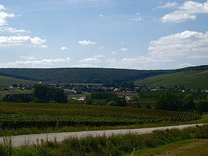 View of Chablis, Burgundy, from the north, wit...