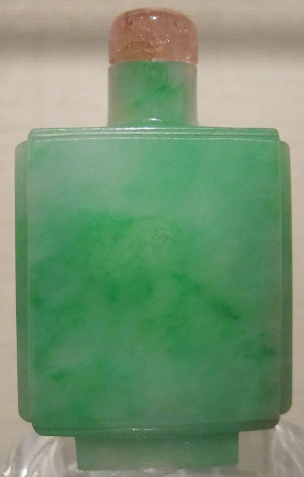 Chinese snuff bottle, Qing dynasty, c. 1780-1850, jadeite bottle with tourmaline stopper, Honolulu Museum of Art