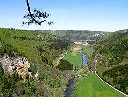 Blick vom Knopfmacherfelsen in das Donautal