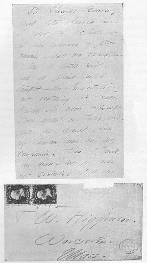 Letter and envelope from Emily Dickinson to Th...